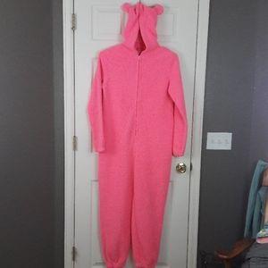 Pink Teddy Bear Ears Sherpa Fleece PJ Onesie